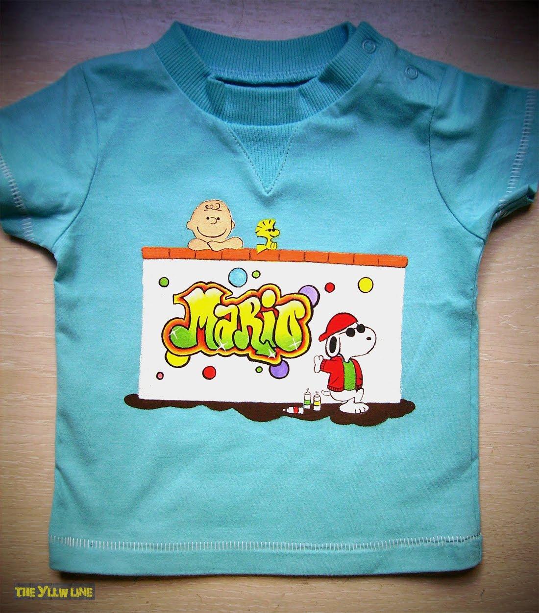 The yllw line camiseta pintada a mano snoopy graffitero for Graffitis para ninos