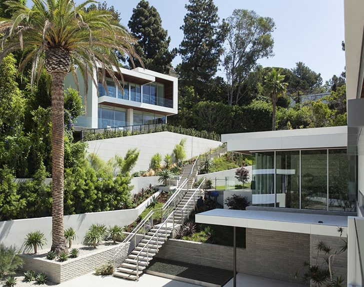 Exterior stairs in Sunset Plaza Drive modern mansion in Los Angeles
