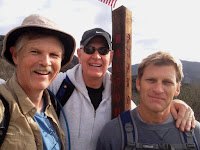 Dan Simpson, Rick, and John on Lower Monroe Road at Punk Out junction, Angeles National Forest