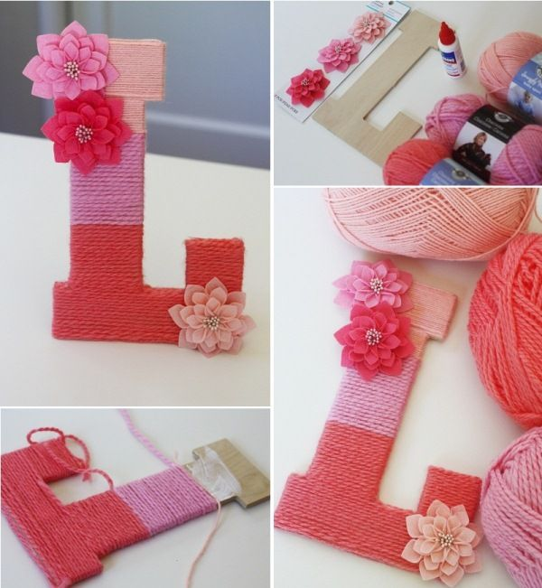 A yarn wrapped monogrammed letter. & 50+ Monogram Wall Art Decor Ideas #CreativeCollections