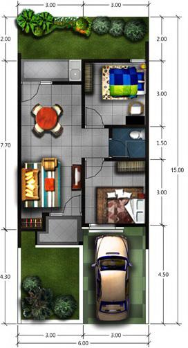 Gambar Denah rumah minimalis modern Tipe 45