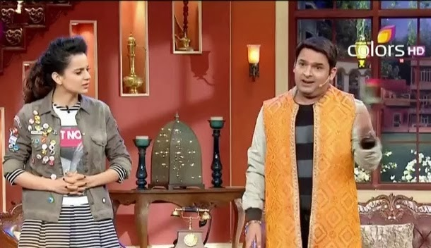 Kangana Ranaut and Kapil Sharma performing an act at Comedy Night's with Kapil