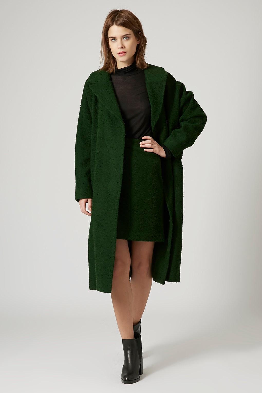 green maxi coat
