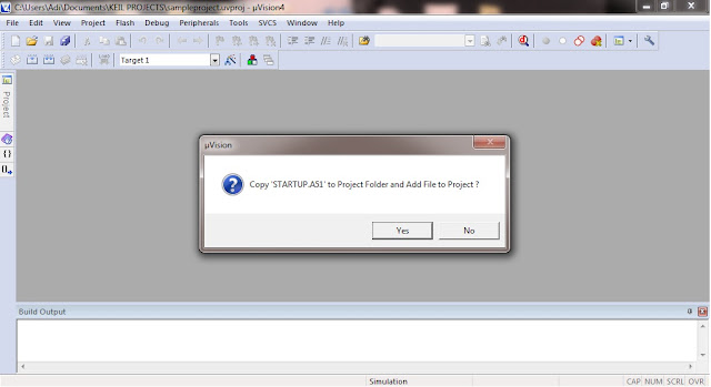 Dialog Box in Keil, to copy STATUP.A51 to project folder & add the file to the project
