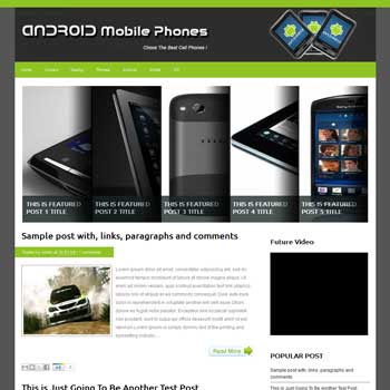Android Mobile Phones blogger template. blogger template fr android blog