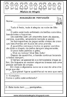 Avaliação de português - 3º ano-2º bimestre