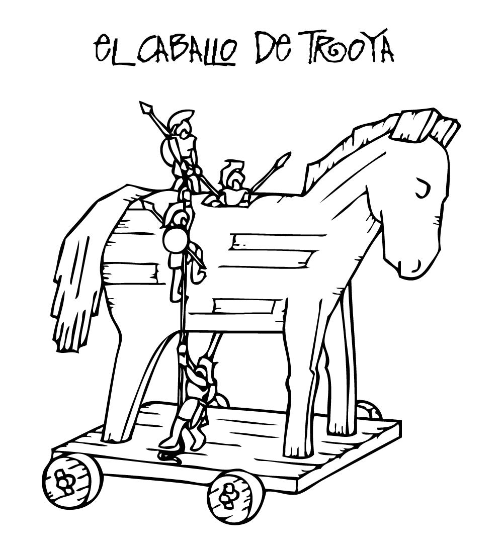 COLOREA TUS DIBUJOS: Caballo de Troya para colorear