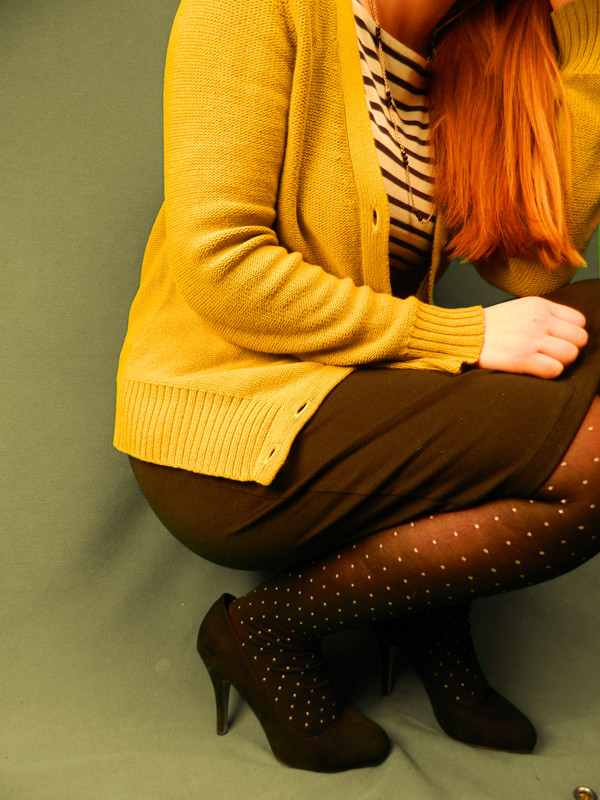 Mustard Cardigan Striped Shirt Polka Dot Tights