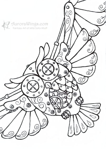 Sketch fest 33 Steampunk animals coloring book