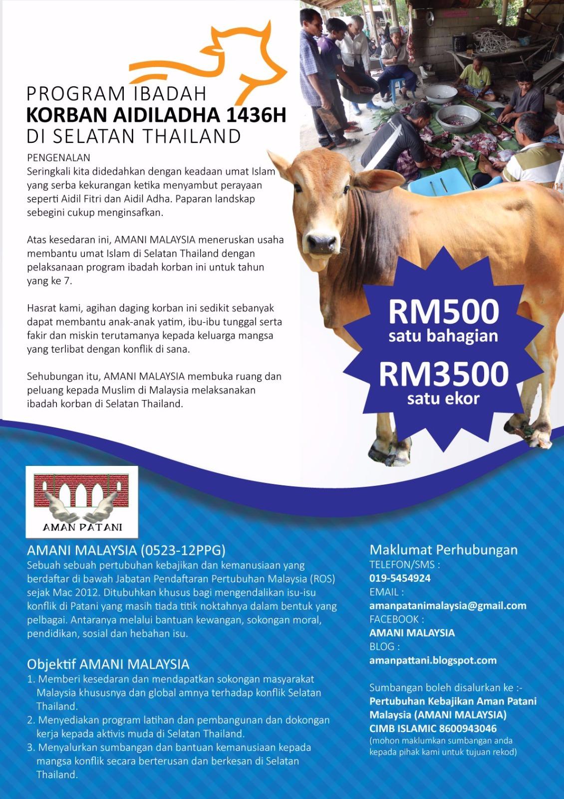 PROGRAM IBADAH KORBAN AIDIL ADHA 1436H DI SELATAN THAILAND