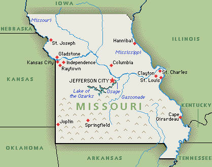 topographic maps of missouri. map of missouri