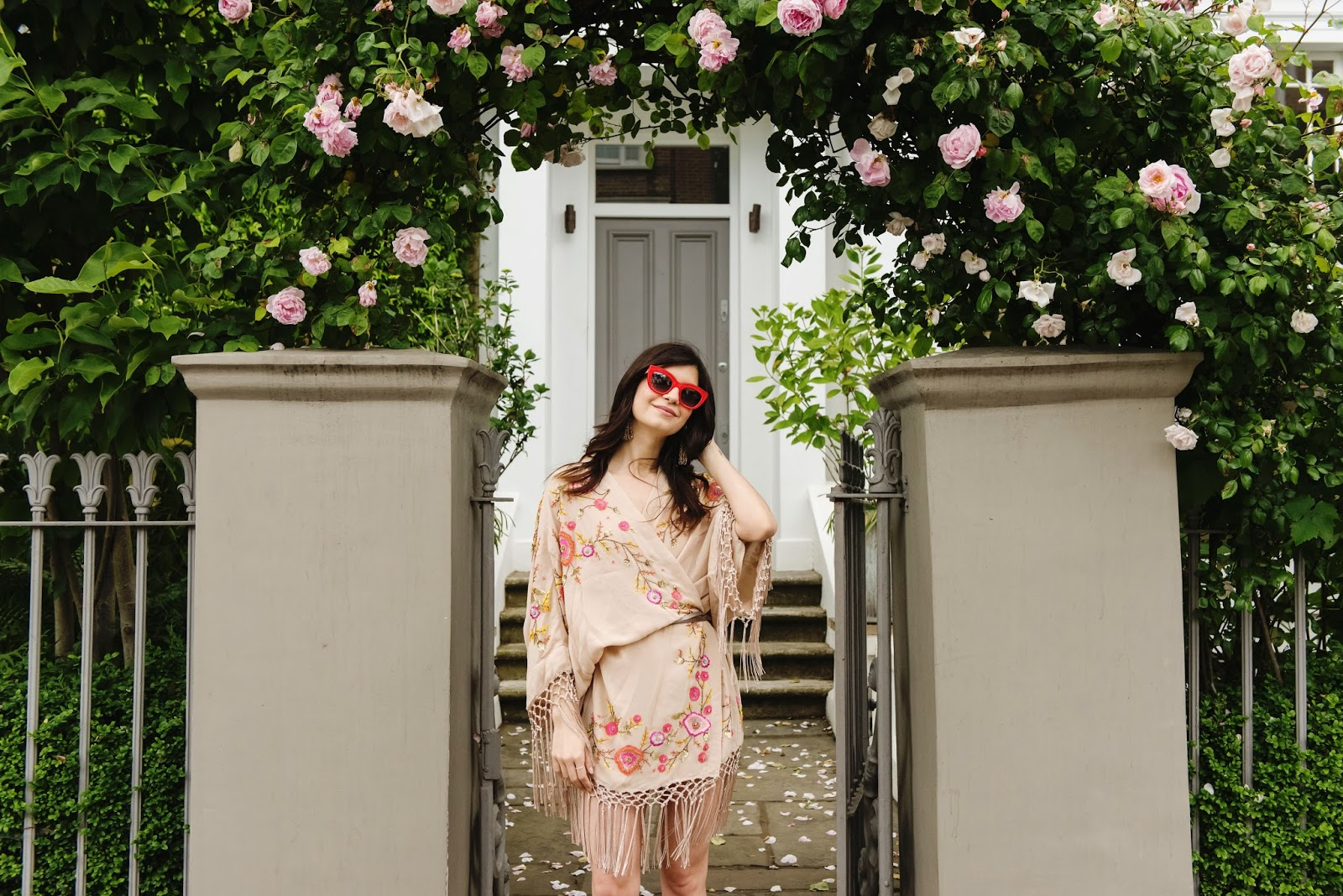 embellished kiono, festival, lace up heels, parisian heels, office shoes, red shades, sunglasses, cateye, cat eye