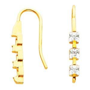 Three-Stone Princess Cut Diamond Earrings