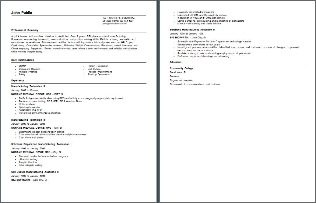 Resume help biotechnology