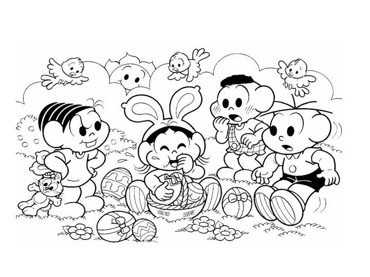 desenhos infantis Turma da monica comemorando a páscoa