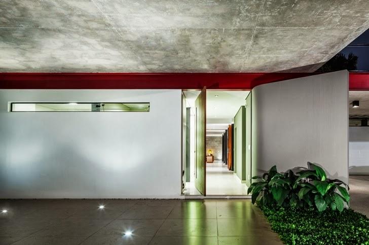 Doors in Modern Planalto House by Flavio Castro