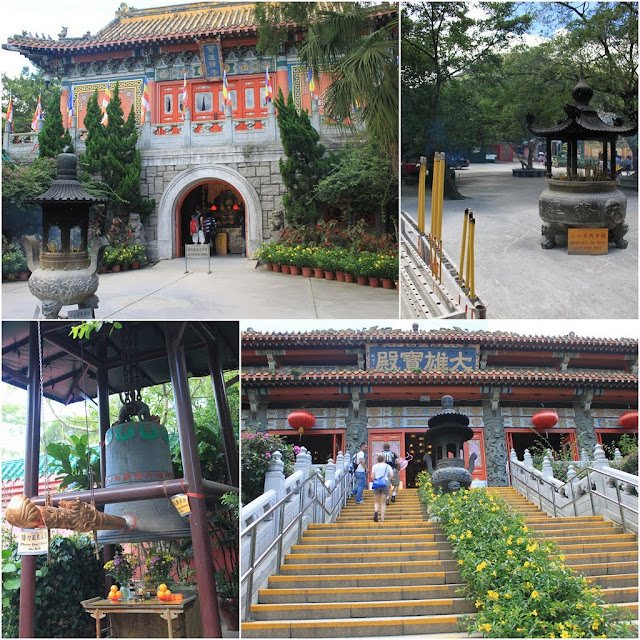 A Chinese Temple can be seen at Ngong Ping Village in Hong Kong