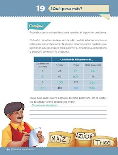 Respuestas Apoyo Primaria Desafíos matemáticos 5to grado Bloque I lección 19 ¿Qué pesa más?