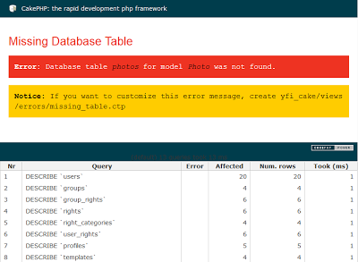 error database table photo