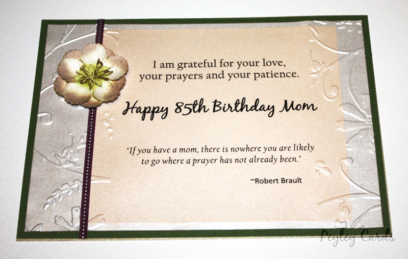 BONNIES 85TH BIRTHDAY CARD Happy 85th Bonnie Sweet Words From Daughter Julie R To Her Mother