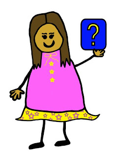 Stick figure girl with brown hair and pink dress holding a yellow question mark on a blue background.
