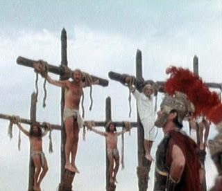 Escena de la crucifixion de Brian