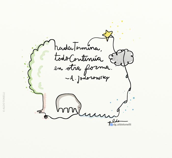 Ilustración con frase de Jodorowsky
