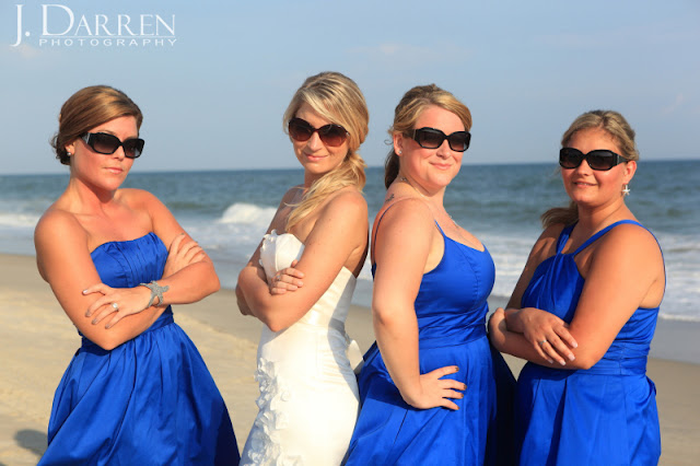 photo of Bridemaids all ready for the beach wedding in Emerald Isle