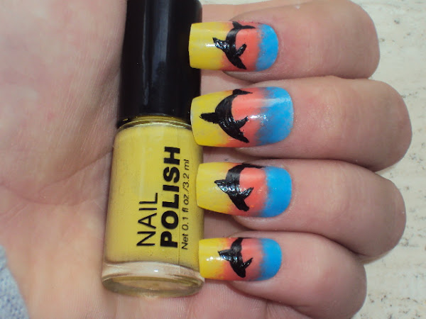 Nail-art: Dolphin and sunset.
