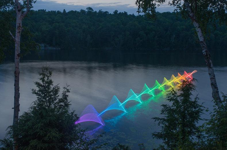 Las mociones del kayak y el canotaje grabados a través de pinturas de luz en las vías navegables canadienses