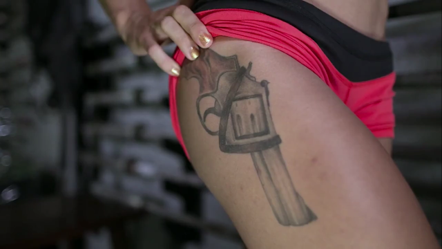 Christmas Abbott Pistol Tattoo on Right Hip