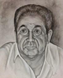 Retrato de mi difunto y querido padre al carboncillo
