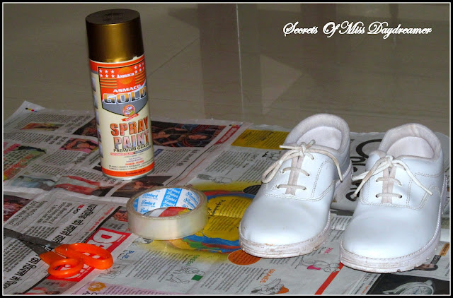 things that you will need white shoes gold spray paint. Black Bedroom Furniture Sets. Home Design Ideas