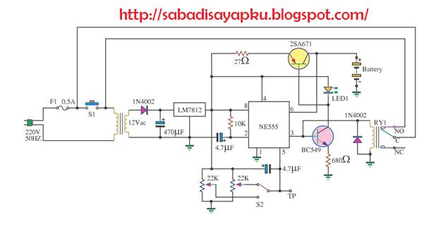 Rangkaian Charger Baterai Otomatis Dengan IC 555
