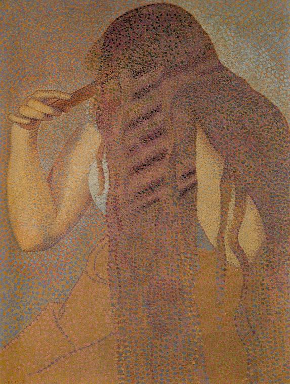 CROSS, Henri-Edmond  (1856-1910). Mulher penteando seu cabelo (1892,  óleo /tela, 23,8 x 17,9cm