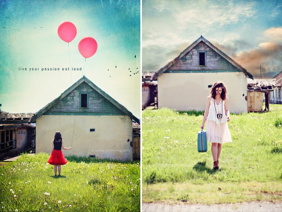 conceptual portrait photography girl with balloon