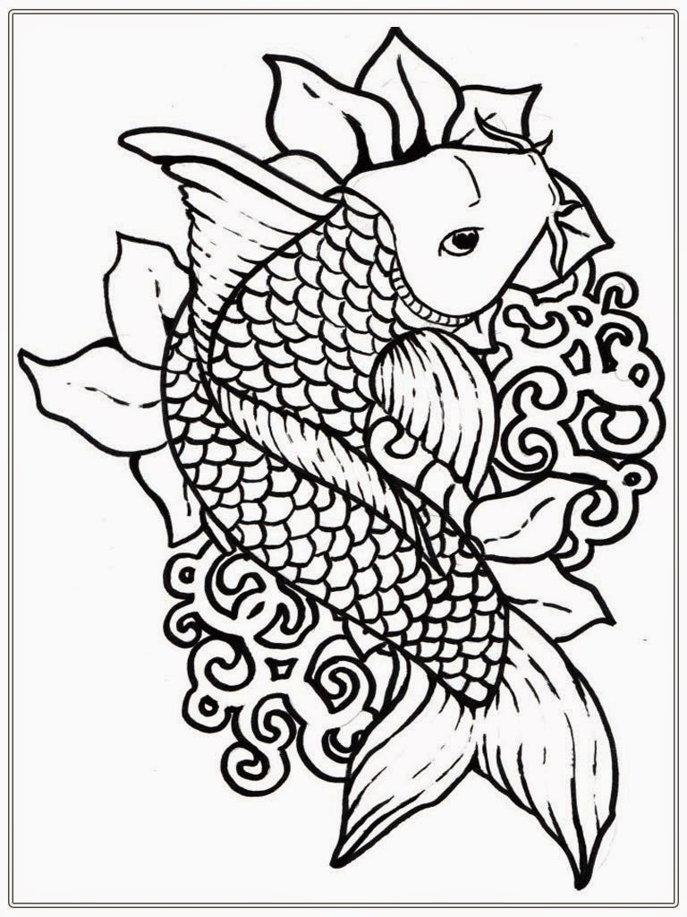 Adult free fish coloring pages realistic coloring pages for Free coloring fish pages