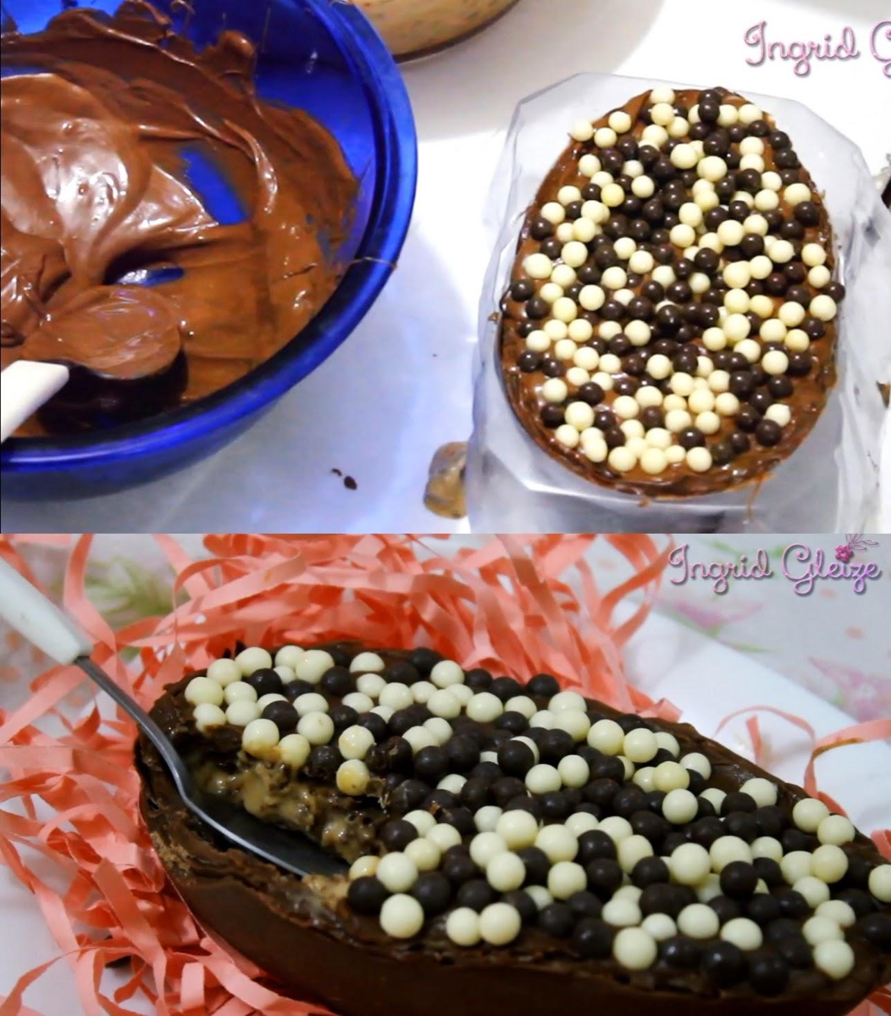 Faça você mesma, ovo de páscoa de colher, ovo recheado, creme de bis, receita fácil de chocolate