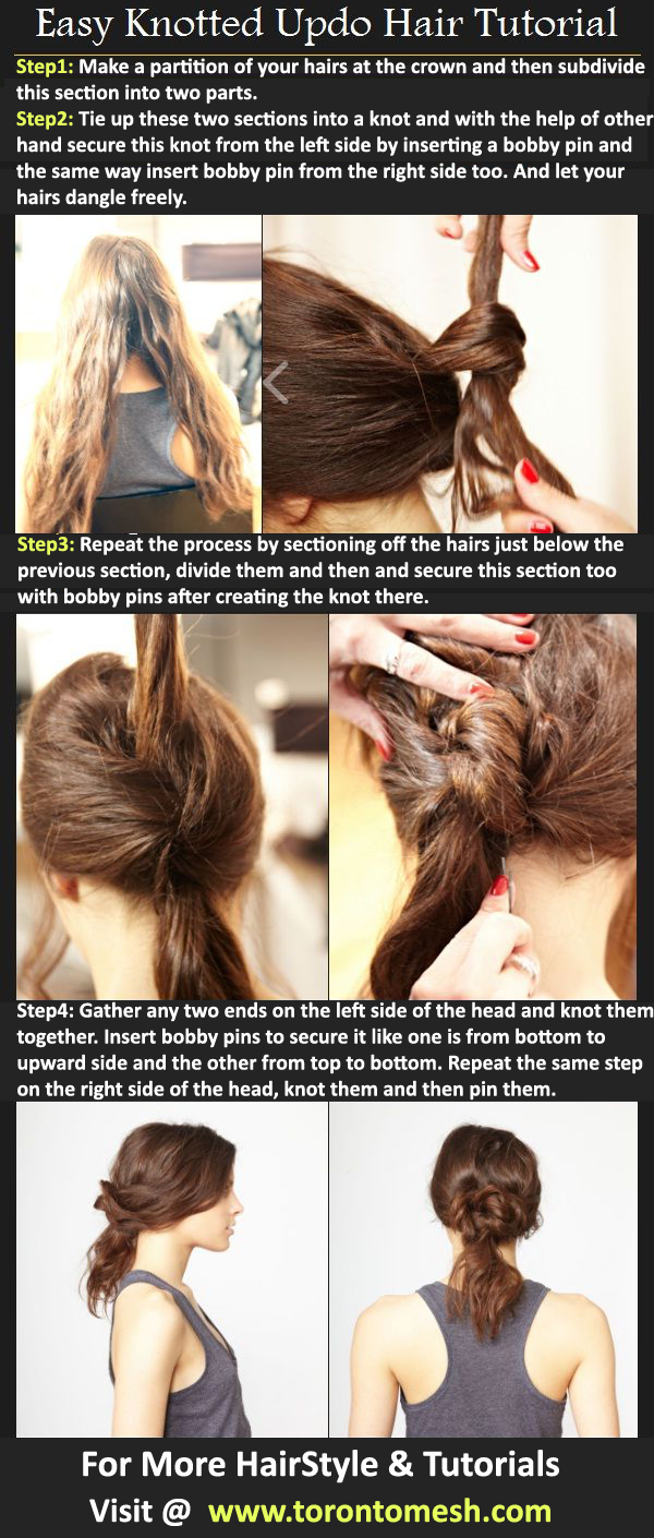 Easy Knotted Updo Hairstyle Tutorial Step By Step Toronto Calgary