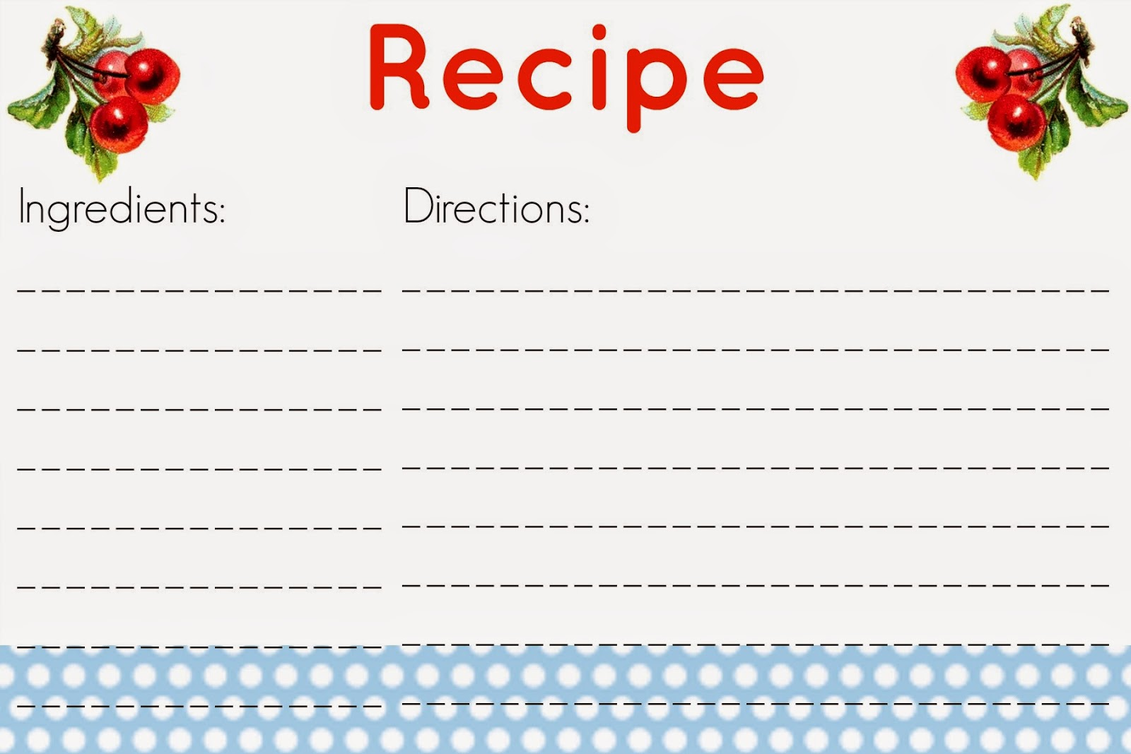 Printable 5x7 Recipe Cards Free printable recipe cards!