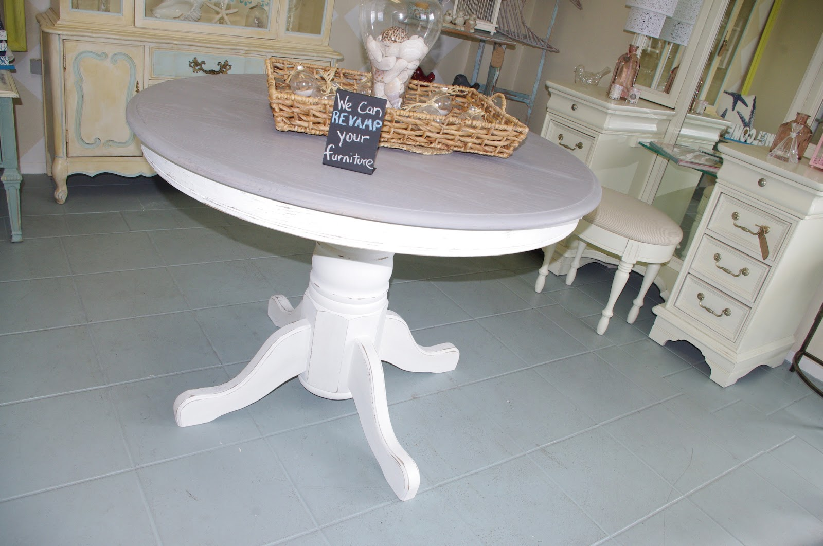 Coastal chic boutique june 2013 for Distressed white dining table