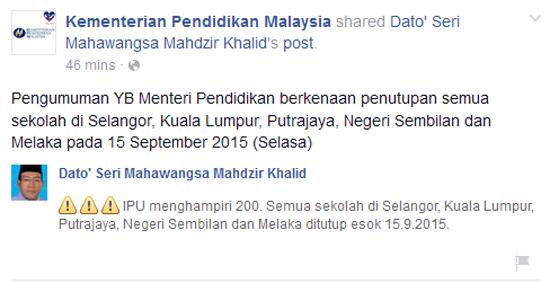Sekolah Selangor, Negeri Sembilan, Melaka, KL dan Putrajaya Tutup 15 September 2015 Jerebu