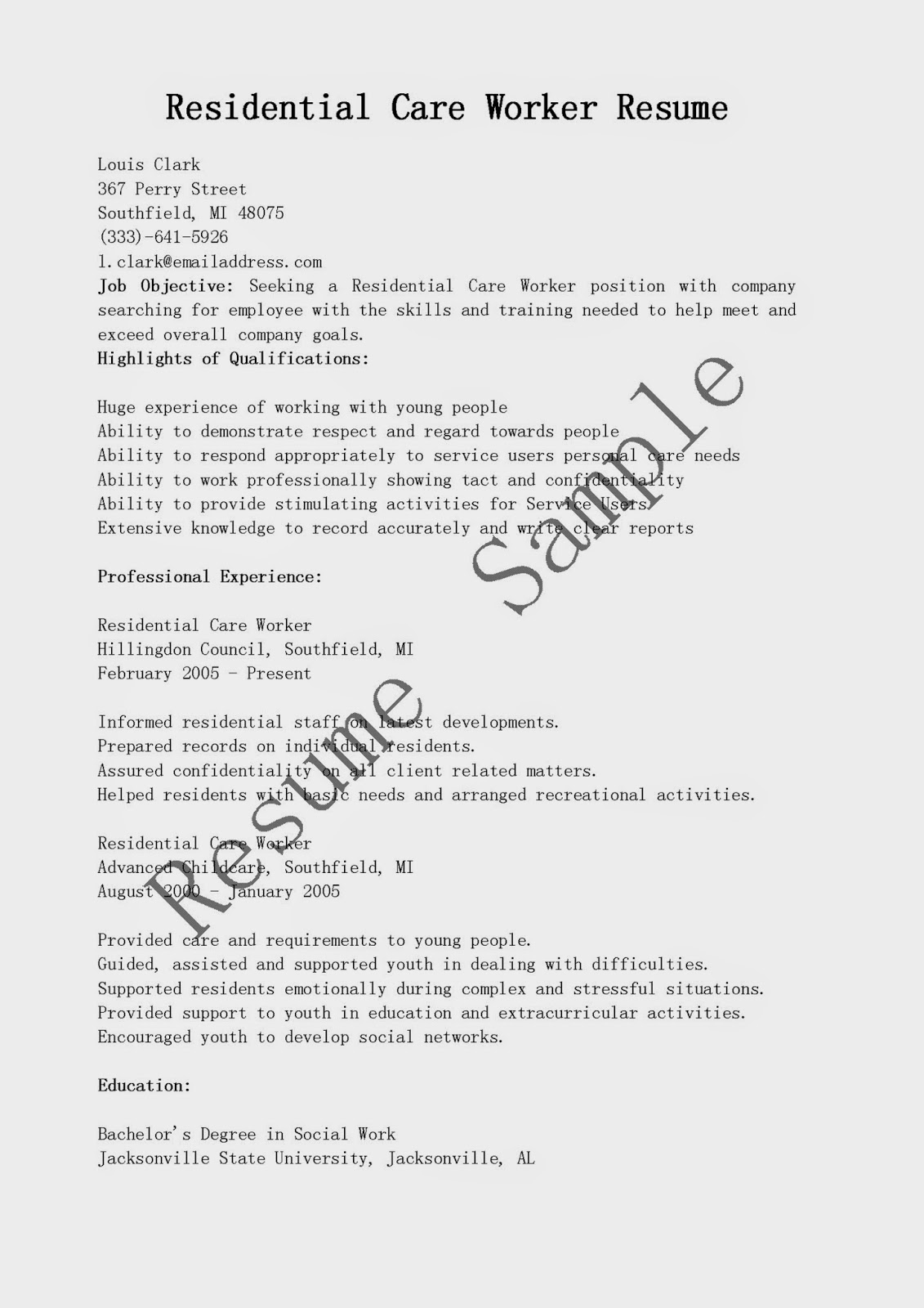 resume samples  residential care worker resume sample