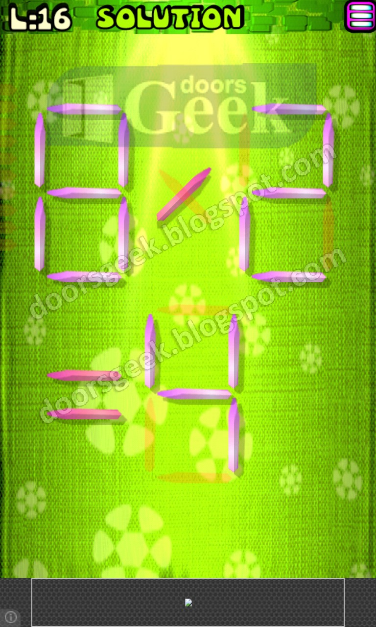 Matches puzzle episode 1 level 16 solution doors geek for 16 door puzzle solution