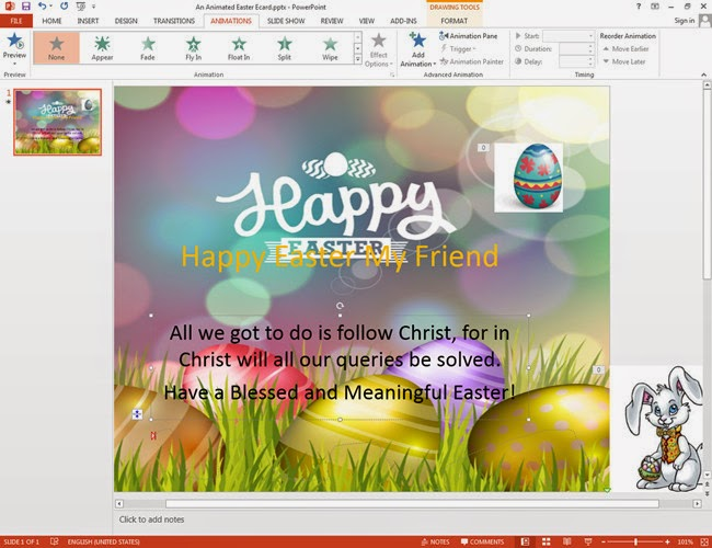 Add Texts into the Easter Card