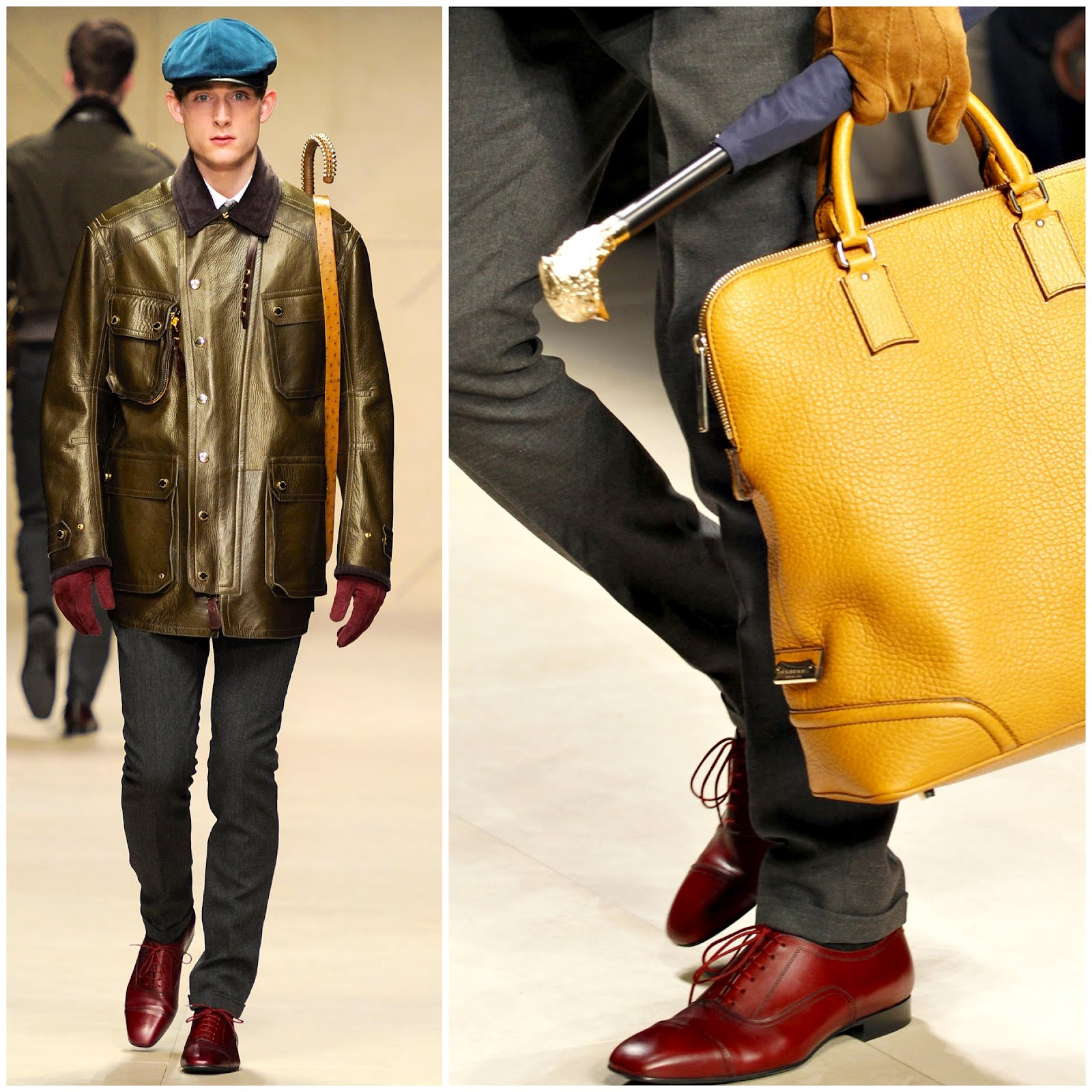 00O00 London Menswear Blog Burberry Prorsum Fall Winter 2012 accessories umbrella and shoes