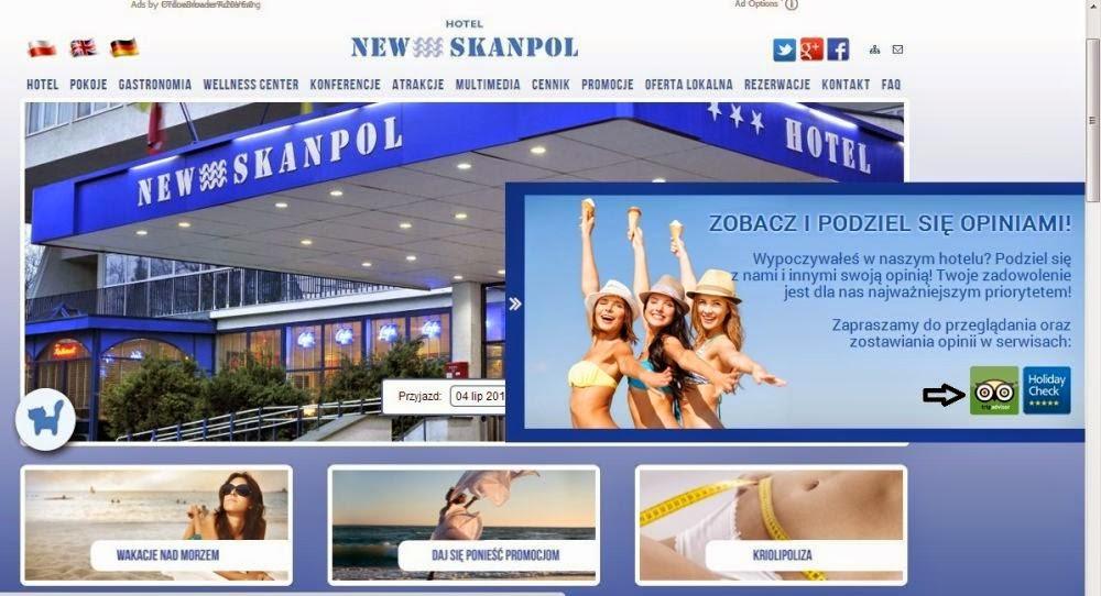 screen strony głównej hotelu w Kołobrzegu