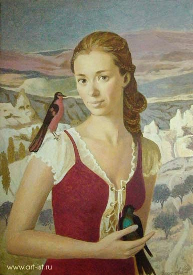 Russian Painting of Innocent Girl with Bird in hand