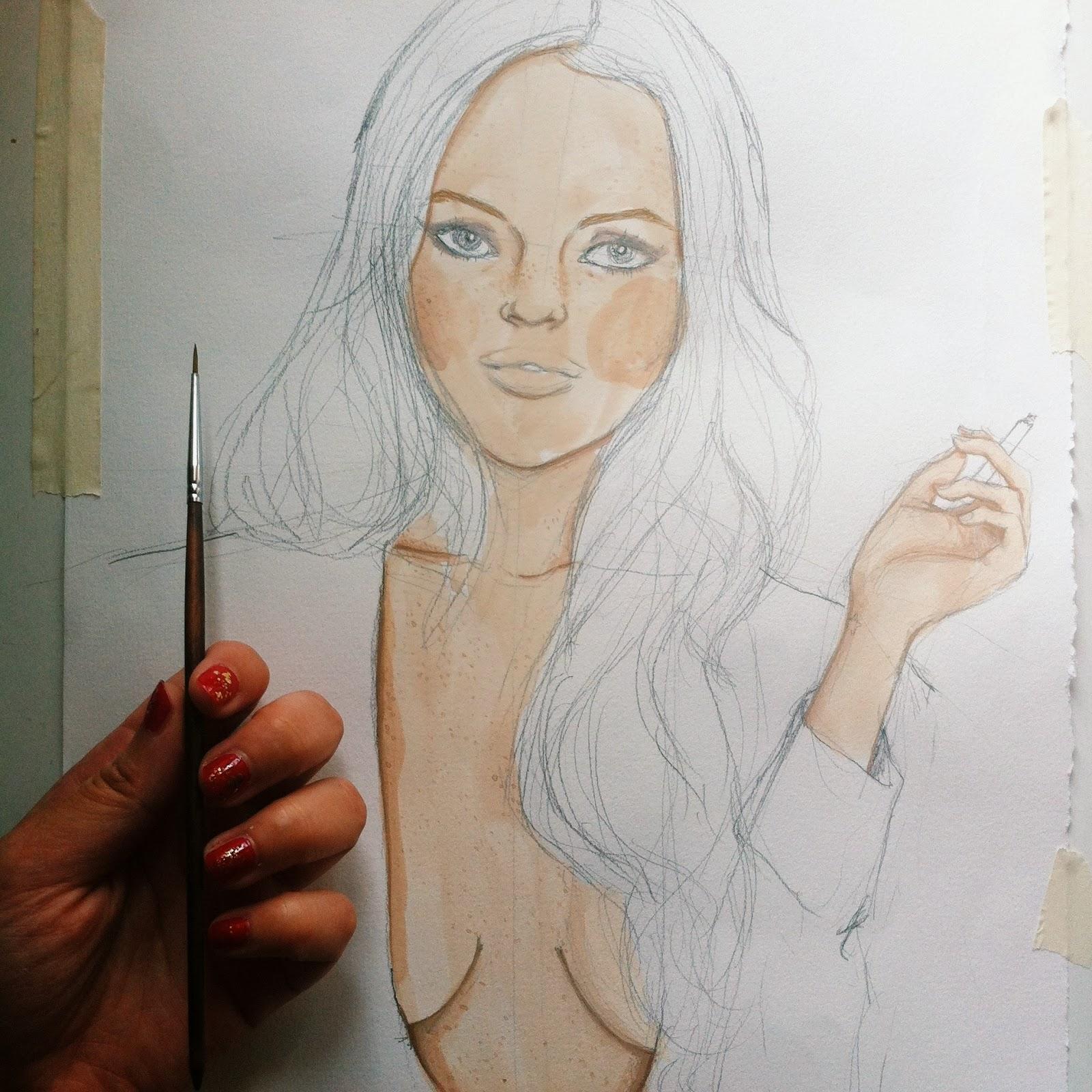 Kitty N. Wong/ Lindsay. Gouache WIP painting