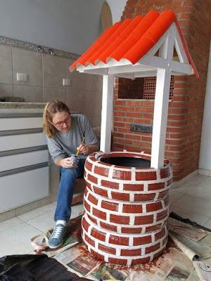 Fazer um Floreira para o Jardim em Formato de Poço, reciclando Pneus